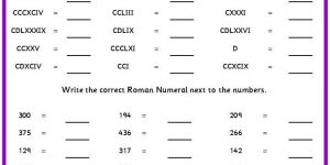 Roman Numerals Worksheet for Grade 5