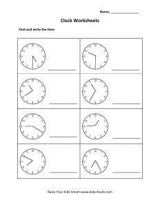 Roman Numerals Clock Worksheet