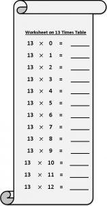 11 Multiplication Table Worksheet
