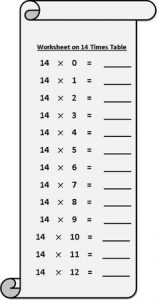 14 Times Table Worksheet