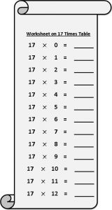 17 Times Table Worksheet