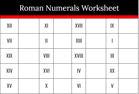 Roman Numerals Worksheet For Kids